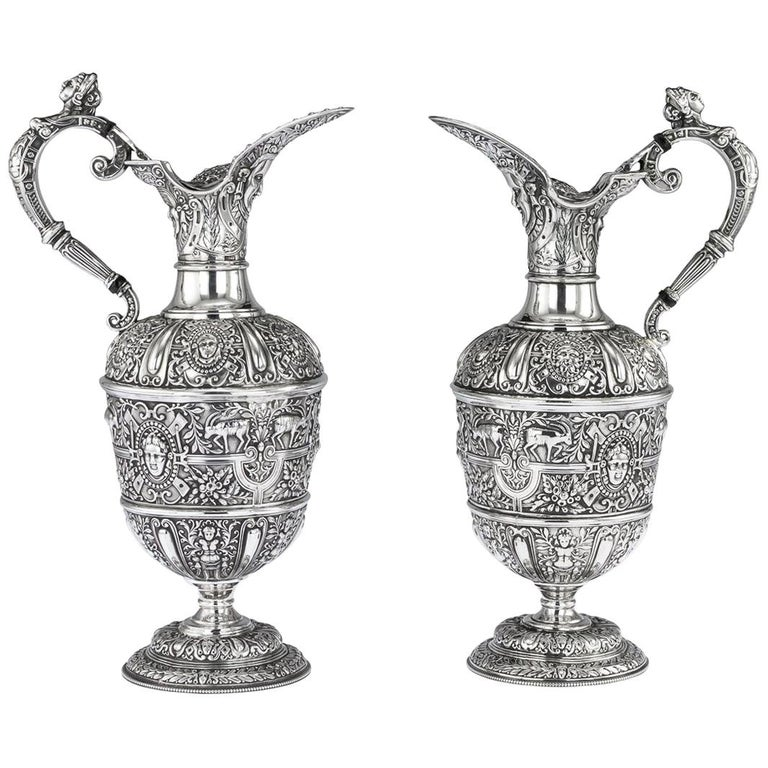 Victorian Pair of Solid Silver Cellini Ewer Jugs, Sheffield, circa 1890 For Sale