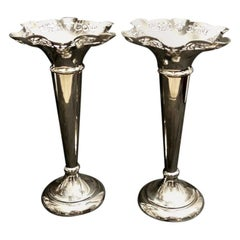 Victorian Pair of Trumpet Vases in Silver Plated Epns, England