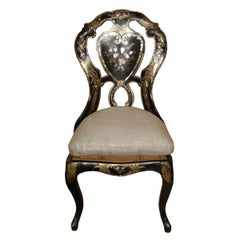 Victorian Papier-Mâché Chair with Mother-of-Pearl Inlay