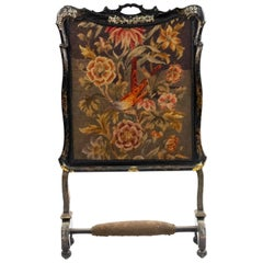 Victorian Papier-maché Lacquered Fire Screen