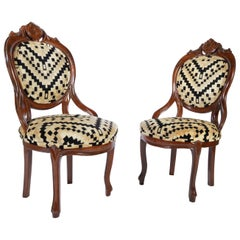 Victorian Parlor Chairs Having Carved Mahogany Frames with Art Deco Upholstery