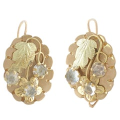 Victorian Paste and Yellow Gold Drop Earrings