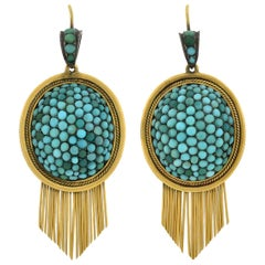 Victorian Pavé Persian Turquoise Gold Fringe Earrings