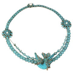 Victorian Pave Turquoise and Pearl Sparrow Necklace