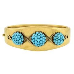 Victorian Pavé Turquoise Domed Motif Bangle Bracelet