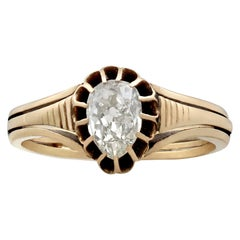 Victorian Pear Cut Diamond and Yellow Gold Solitaire Ring