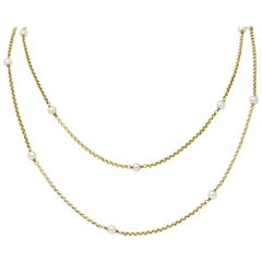 Victorian Pearl 14 Karat Gold Long Chain Station Necklace