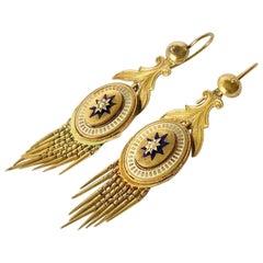 Victorian Pearl, 18 Carat Gold and Enamel Drop Earrings