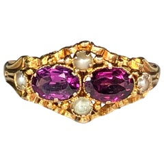 Victorian Pearl and Amethyst 15 Karat Gold Antique Ring