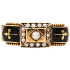 Victorian Pearl and Black Enamel 15 Karat Yellow Gold Mourning Ring, circa 1888