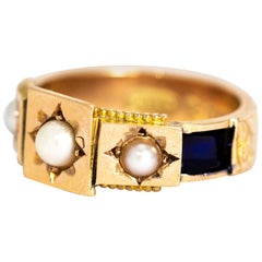 Victorian Pearl and Blue Enamel 9 Carat Mourning Band