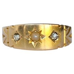 Victorian Pearl and Diamond 15 Carat Gold Band