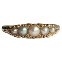 Victorian Pearl and Diamond 18 Carat Gold Five-Stone Ring