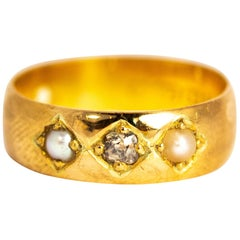 Victorian Pearl and Diamond 22 Carat Gold Band