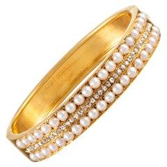 Victorian Pearl and Diamond Bangle