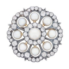 Victorian Pearl and Diamond Daisy Cluster Brooch, circa 1880s