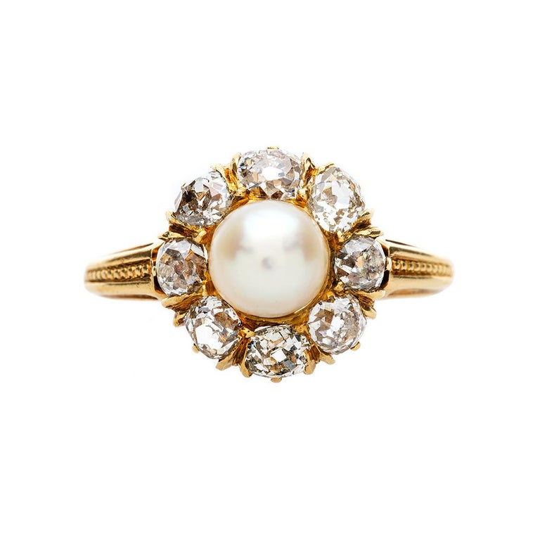 c328310d4a9 Victorian Pearl and Diamond Halo Cluster Engagement Ring at 1stdibs