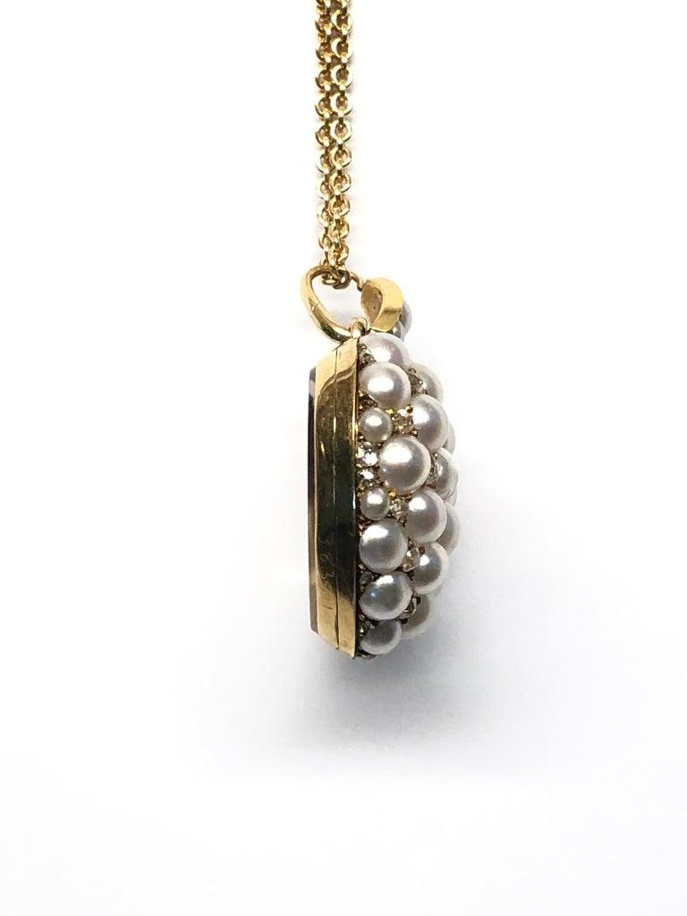 Old Mine Cut Victorian Pearl and Diamond Heart Locket, English, circa 1880 For Sale