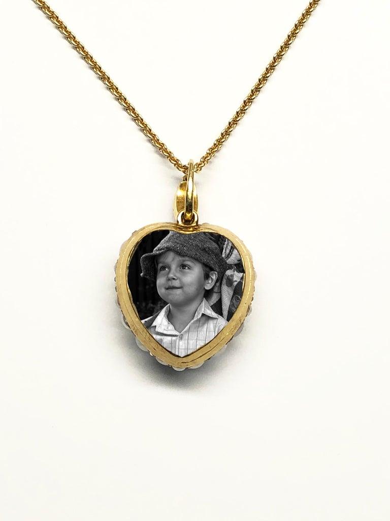 Women's Victorian Pearl and Diamond Heart Locket, English, circa 1880 For Sale