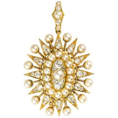 Victorian Pearl and Diamond Oval Star Pendant Brooch