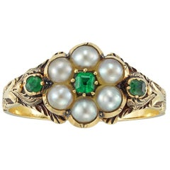 Victorian Pearl and Emerald Mourning Ring