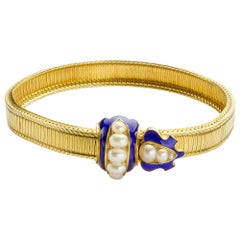 Victorian Pearl and Enamel Yellow Gold Belt Bracelet