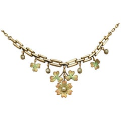 Victorian Pearl and Enamel Yellow Gold Necklace