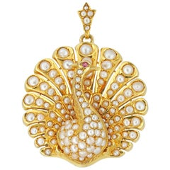 Victorian Pearl and Ruby Peacock Brooch/Pendant