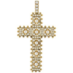Victorian Pearl and Yellow Gold Cross Pendant