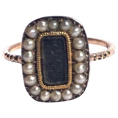 Victorian Pearl, Braided Hair and 9 Carat Gold Mourning Ring