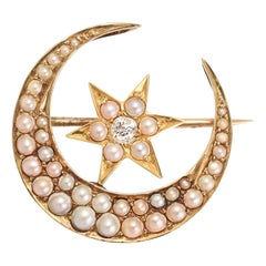Victorian Pearl Diamond Crescent Moon and Star Brooch
