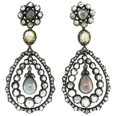 Antique Pearl Diamond Earrings in Gold and Silver