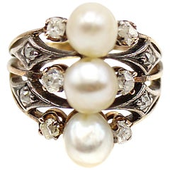 Victorian Pearl Diamond Gold Ring