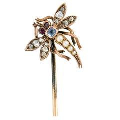 Victorian Pearl Diamond Sapphire Ruby 14 Karat Rose Gold Dragonfly Stickpin