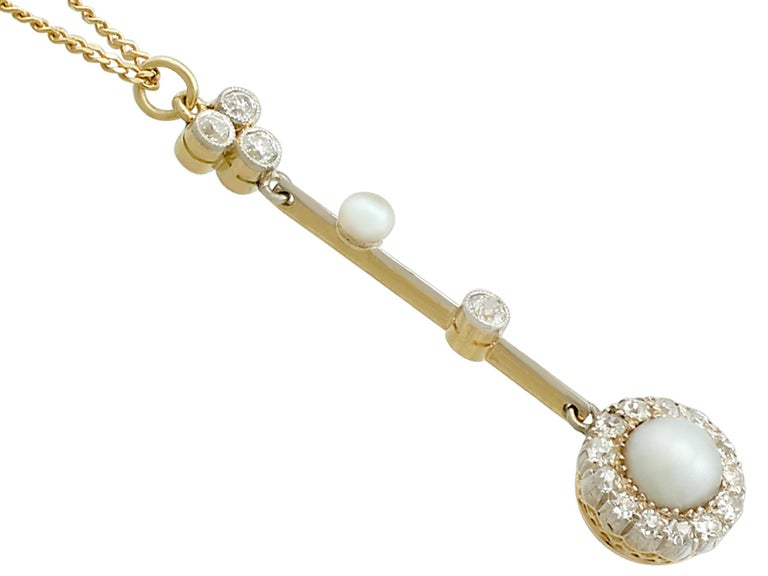 Victorian Pearl Diamond Yellow Gold Pendant In Excellent Condition For Sale In Jesmond, Newcastle Upon Tyne