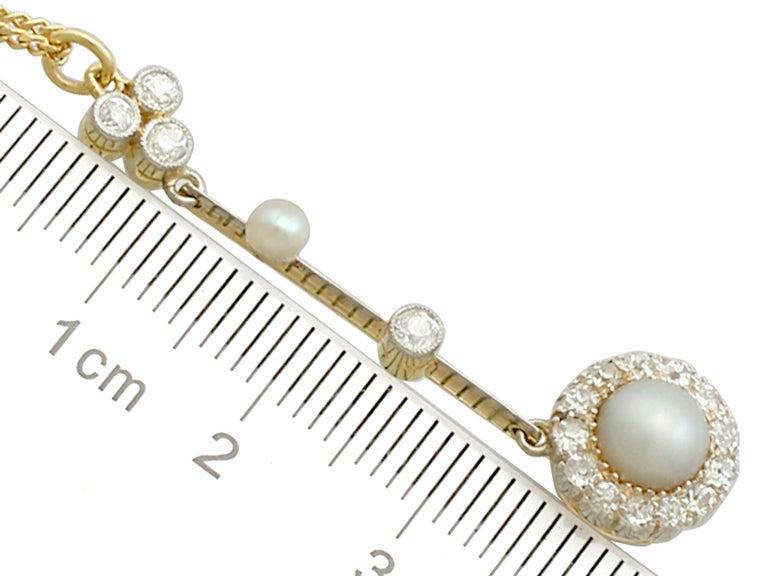 Victorian Pearl Diamond Yellow Gold Pendant For Sale 2