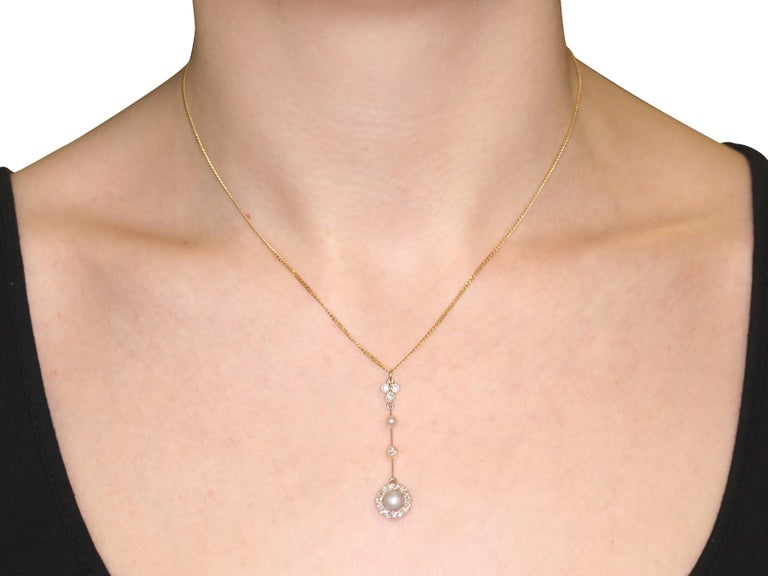 Victorian Pearl Diamond Yellow Gold Pendant For Sale 4