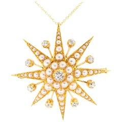 Victorian Pearl Diamond Yellow Gold Starburst Brooch Pendant