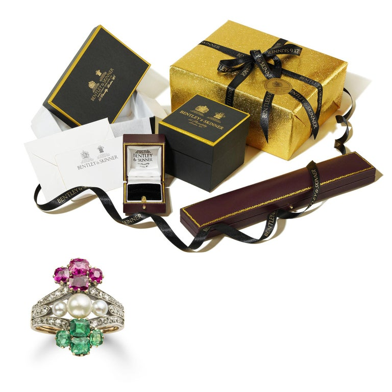 Victorian Pearl Emerald Ruby Diamond Ring For Sale 4