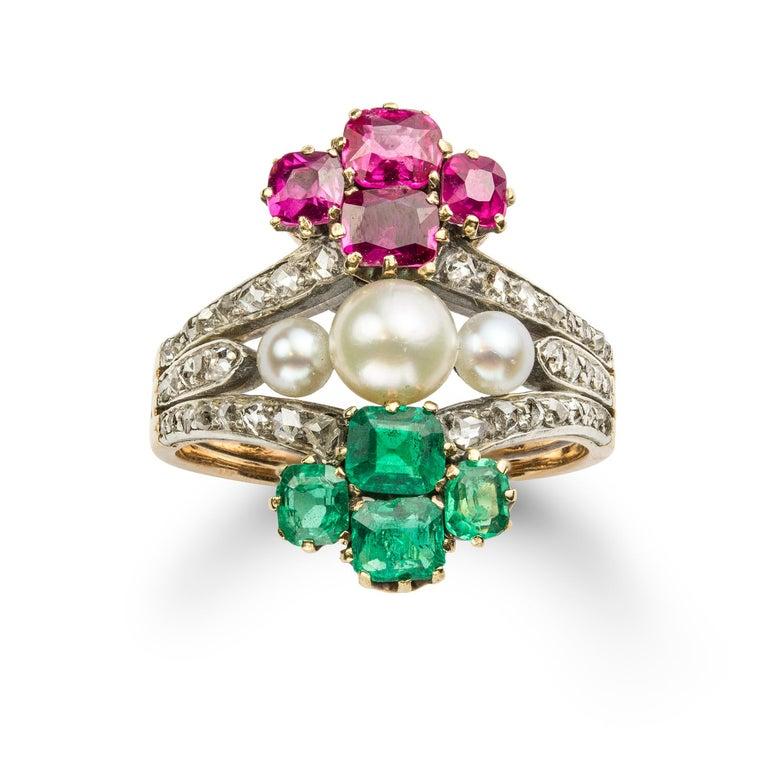 Brilliant Cut Victorian Pearl Emerald Ruby Diamond Ring For Sale