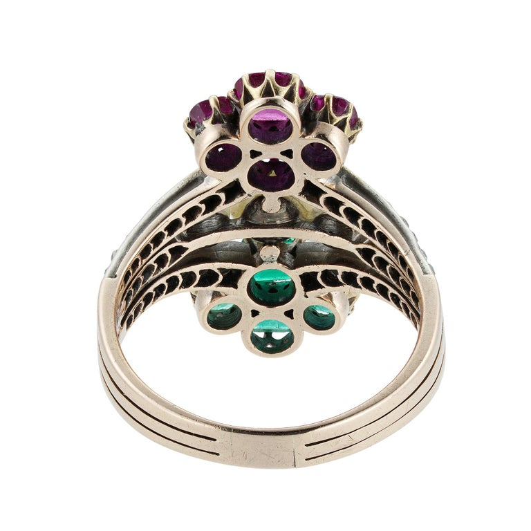 Victorian Pearl Emerald Ruby Diamond Ring In Good Condition For Sale In London, GB