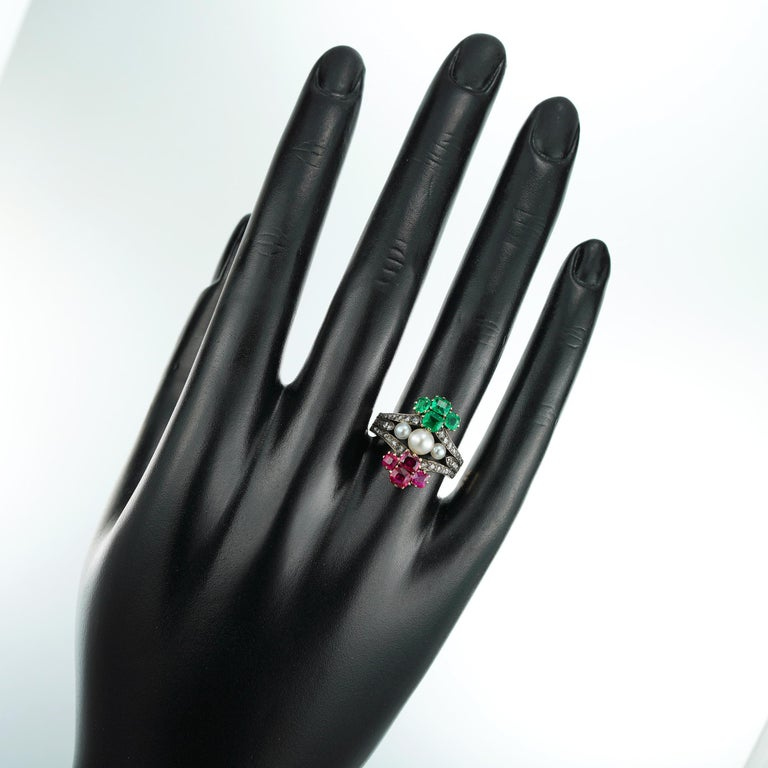 Victorian Pearl Emerald Ruby Diamond Ring For Sale 2