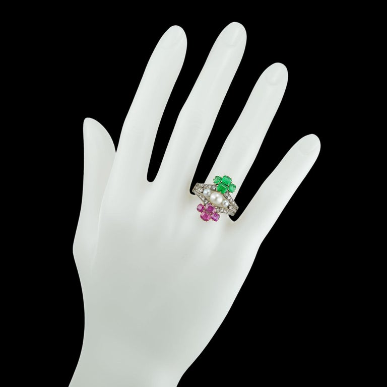 Victorian Pearl Emerald Ruby Diamond Ring For Sale 3