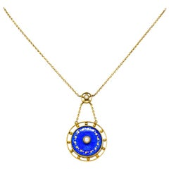 Victorian Pearl Enamel 14 Karat Yellow Gold Pendant Necklace