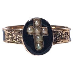 Victorian Pearl, Enamel and 9 Carat Gold Mourning Ring