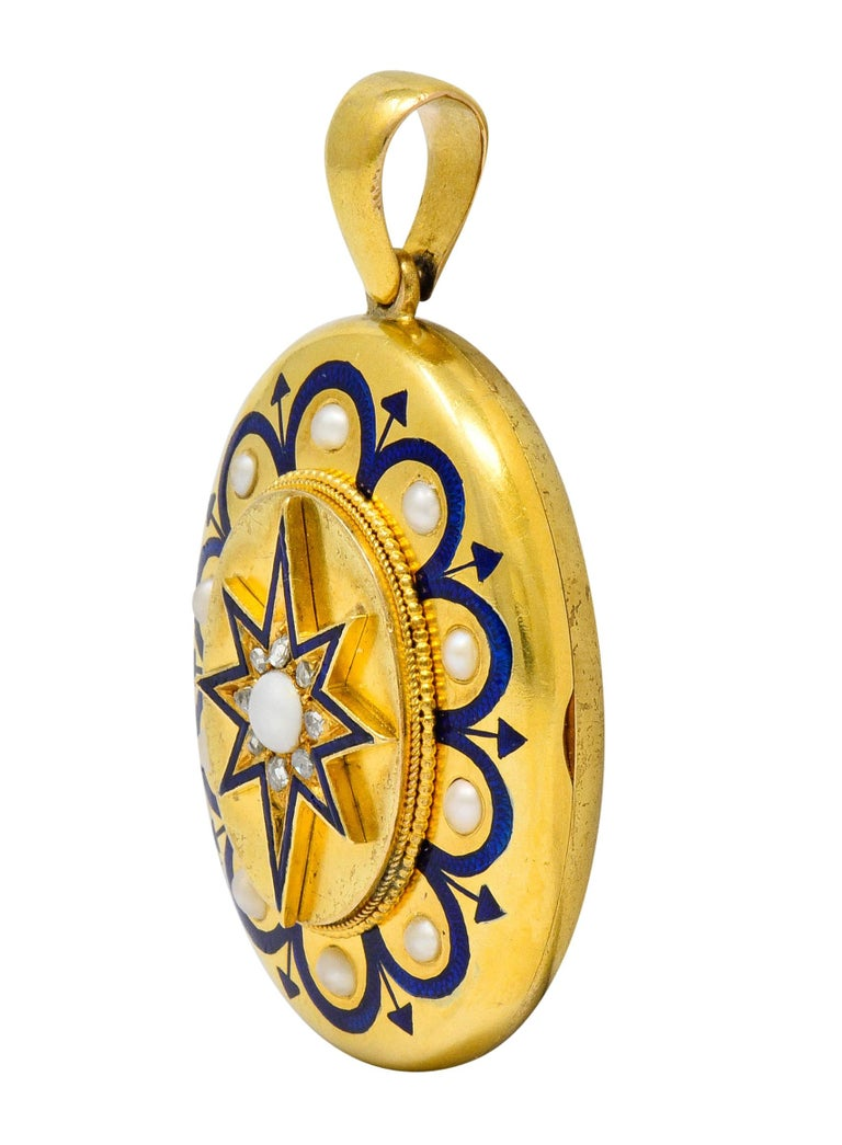 Rose Cut Victorian Pearl Enamel Diamond 18 Karat Gold Starburst Locket Mourning Pendant For Sale