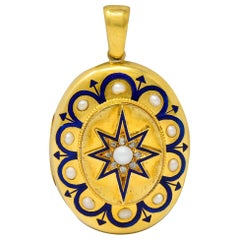 Victorian Pearl Enamel Diamond 18 Karat Gold Starburst Locket Mourning Pendant