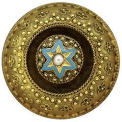 Victorian Pearl Enamel Gold Brooch