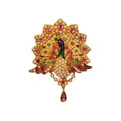 Victorian Pearl Enamel Ruby Peacock Pin