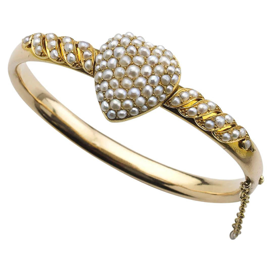 Victorian Pearl Gold Heart Bangle Bracelet